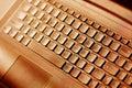 Keyboard and laptop closeup in sepia shade Stock Image