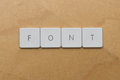 Keyboard letters font spell the word Stock Image