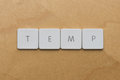 Keyboard letters temp spell the abbreviation of the word temporary Royalty Free Stock Images