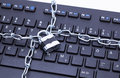 Keyboard lock chain image shows a with and Royalty Free Stock Image
