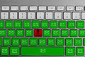 Keyboard with red phishing button surrounded with green email buttons Royalty Free Stock Photo