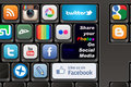 Keyboard social media photos youtube twitter panoramio blogspot picasa flickr and deviantart Stock Images