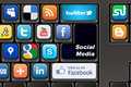Keyboard social media photos youtube twitter panoramio blogspot picasa flickr and deviantart Royalty Free Stock Photography