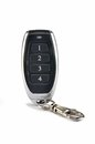 Keychain alarm electronic car key fob on white background Stock Photos