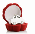 Keychain in box car red gift on white background Stock Photography
