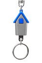 Keychain with figure of blue house on white background Stock Images