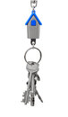 Keychain with figure of blue house on white background Stock Photo