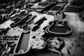 Keychain guitar black white souvenir Royalty Free Stock Image