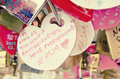 Keychain with love shape with loving caption, retro and vantage look
