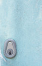 Keyhole on blue door. Royalty Free Stock Photo