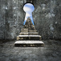 Keyhole concrete wall with dirty stairs sky view Royalty Free Stock Photo
