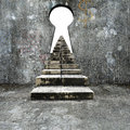 Keyhole doodles wall with dirty stairs blank white view Royalty Free Stock Photo