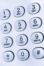 Keypad with numbers and letters photographed from above Royalty Free Stock Photo