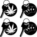 Keys of cannabis and casino stencils vector illustration Royalty Free Stock Photo
