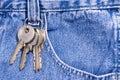 Keys clipped onto blue jeans Royalty Free Stock Photo
