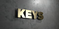 Keys - Gold sign mounted on glossy marble wall  - 3D rendered royalty free stock illustration Royalty Free Stock Photo