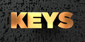 Keys - Gold text on black background - 3D rendered royalty free stock picture Royalty Free Stock Photo
