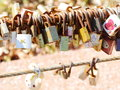 Keys hanging on slings as a background rotten thai people believe for good and long love wishing symbol Stock Photo