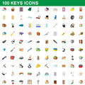 100 keys icons set, cartoon style