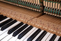 Keys and inside of a piano mechanics in the inner side Stock Photos