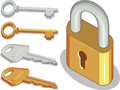 Keys lock or padlock a vector image of and in brass and metal version this vector is very good for design that needs to portray Stock Photos