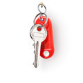 Keys on ring of door white background clipping path included Royalty Free Stock Images