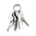 Keys on ring key with new white background clipping path included Stock Photography