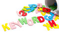 Keyword letters wood spill out of the cup as topic Royalty Free Stock Image