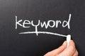 Keyword topic hand writing on chalkboard Stock Photos