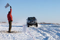 KHABAROVSK, RUSSIA - JANUARY 31, 2015: Nissan Patrol finishing a Royalty Free Stock Photo