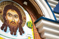 KHABAROVSK, RUSSIA - JULY 23, 2014: Contemporary Jesus Christ stone mosaic icon on an orthodox church Royalty Free Stock Photo