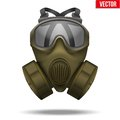Khaki Gas Mask Respirator. Vec...