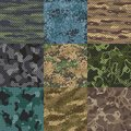 Khaki texture. Camouflage fabric seamless patterns, military clothes textures and army print vector pattern background