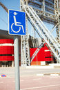 Khalifa sports stadium disabled access sign outside in doha qatar middle east where the asian games were hosted and location for Royalty Free Stock Photos