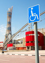 Khalifa sports stadium disabled access sign outside in doha qatar middle east where the asian games were hosted and location for Royalty Free Stock Photography
