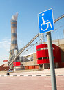 Khalifa sports stadium disabled access sign outside in doha qatar middle east where the asian games were hosted and location for Royalty Free Stock Image