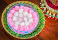 Khanom chun thai dessert in roses shape Royalty Free Stock Photo
