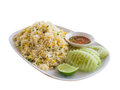 Khao phat pu fried rice with crabmeat with clipping path thai food lunchtime dish of thai and mix onion egg table Stock Image