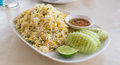Khao phat pu fried rice with crabmeat thai food lunchtime dish of thai and mix onion egg table Royalty Free Stock Photo