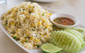 Khao phat pu fried rice with crabmeat thai food lunchtime dish of thai and mix onion egg table Stock Photo