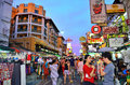 Khaosan road in the evening Stock Photo