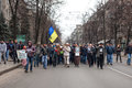KHARKOV UKRAINA - mars 2, 2014: Anti--Putin demonstration i Kh Arkivbild