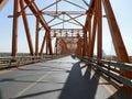 Khartoum sudan november bridge over the river nile confluence of blue and white vehicles traveling on Stock Image