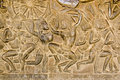 Khmer Battle frieze, Angkor Wat Stock Photography