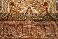 Khmer relief in Banteay Srei Royalty Free Stock Image