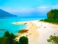 Kho Lipe, Satun, Thailand - Longtail boats taxi on the beach Royalty Free Stock Photo