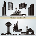 Khobar landmarks and monuments isolated on blue background in editable vector file Stock Photography