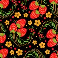 Khokhloma seamless pattern with berries and leaves on black background