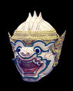 Khon mask of ramayana story in thailand isolate photo blackground is black Royalty Free Stock Photo