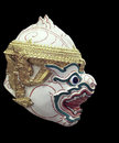 Khon mask of ramayana story in thailand isolate photo blackground is black Royalty Free Stock Images